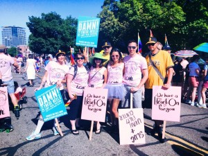 Utah Film Center staff & volunteers ready to march in the 2014 Utah Pride parade