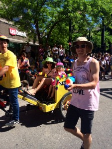 Look out! Some Utah Film Center marchers had water guns to cool off the crowd.